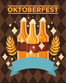 Bierflaschen mit banddesign, oktoberfestdeutschfest und festmotiv