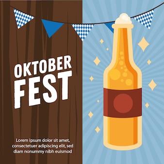 Bierflaschendesign, oktoberfestdeutschfest und festmotiv