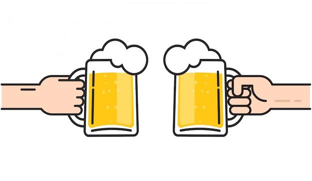 Biergläser in den händen mit zujubelnder illustration des schaums