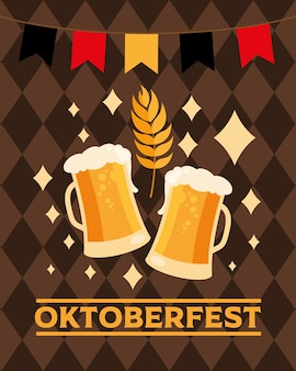 Biergläser mit bannerwimpelentwurf, oktoberfestdeutschfest und feierthema