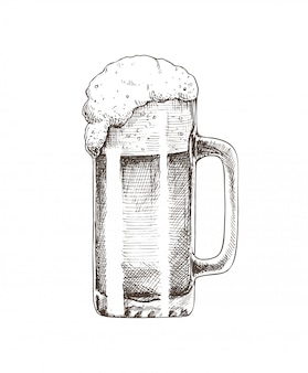Bierglas-brauerei-skizzen-vektor-illustration