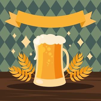 Bierglas mit banddesign, oktoberfestdeutschfest und festmotiv