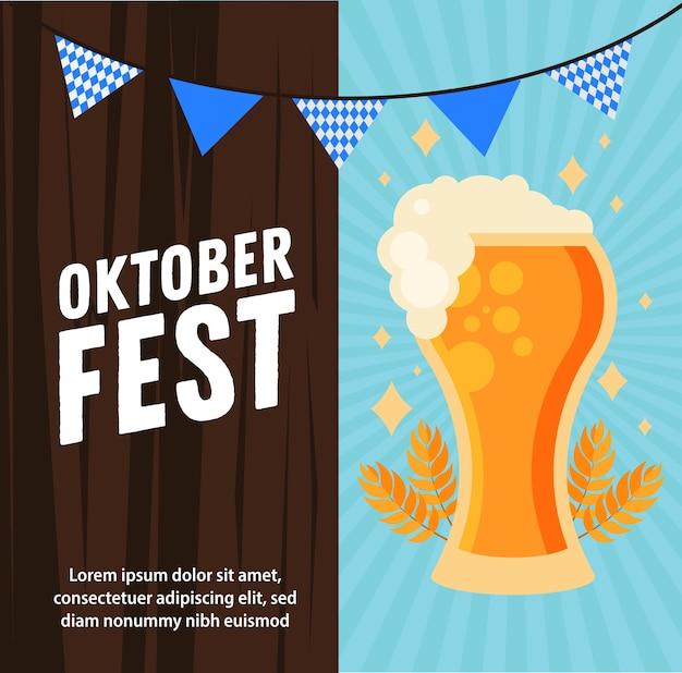 Bierglas mit bannerwimpelentwurf, oktoberfestdeutschfest und feierthema