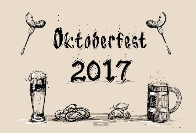 Bierglas mit wurstskizze oktoberfest festival