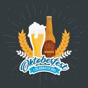 Bierglas- und flaschendesign, oktoberfest deutschland festival und feier thema