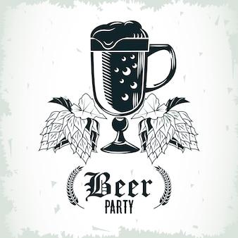 Bierglasgetränk und hopfen gezeichnetes isoliertes symbolillustrationsdesign