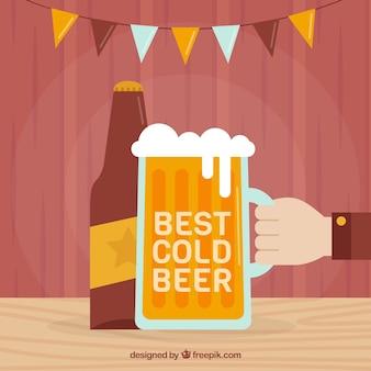 Bierhintergrund in der flachen art