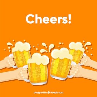 Bierhintergrund mit vier händen