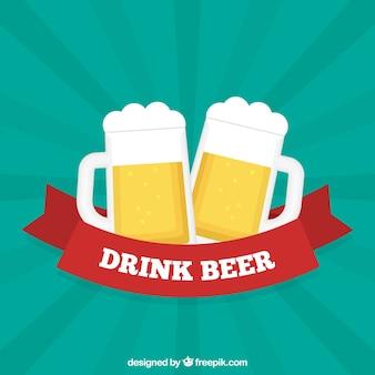 Bierhintergrund mit zwei gläsern