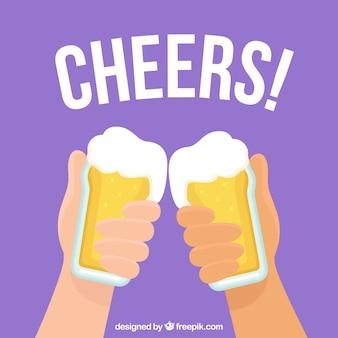 Bierhintergrund mit zwei händen, die gläser halten