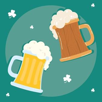 Bierkrüge trinkt holz- und glasikonenillustration