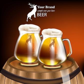 Bierkrüge vector realistisches design. mock up produktverpackung. roter hintergrund des hölzernen fasses