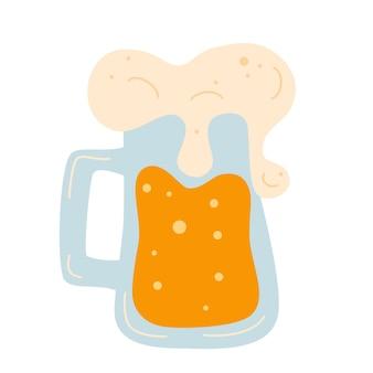 Bierkrug mit schaum. alkoholisches getränk. schaumiger krug goldenes bier mit gutem schaum