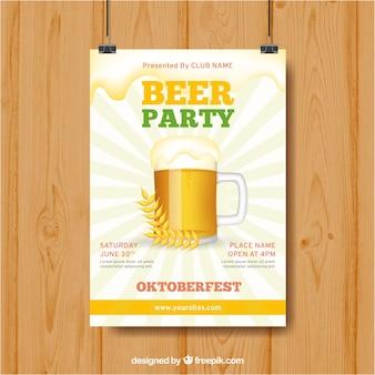 Bierparty poster mit becher und weizen