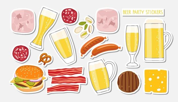 Bierpartyaufkleber für restaurant café pub bierkrüge und snacks würstchen speck nüsse burger