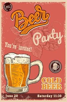 Bierplakatschablone mit becher und bierhop. gestaltungselement für poster, t-shirt, emblem, schild, etikett. vektor-illustration
