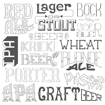 Biersorten. handgezeichnete schriftzug für bar, pub, café, fest und party.