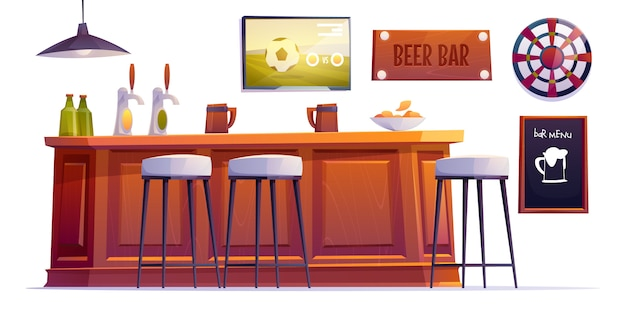Bierstubenzeug, kneipentheke mit flaschen und tassen
