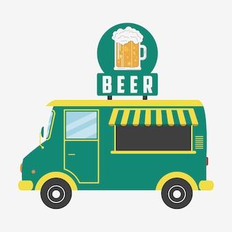 Bierwagen kneipenwagen mit schild in form von bierglas und schaum