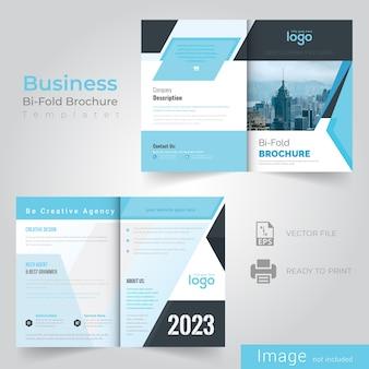 Bifold blue abstract broschüre design