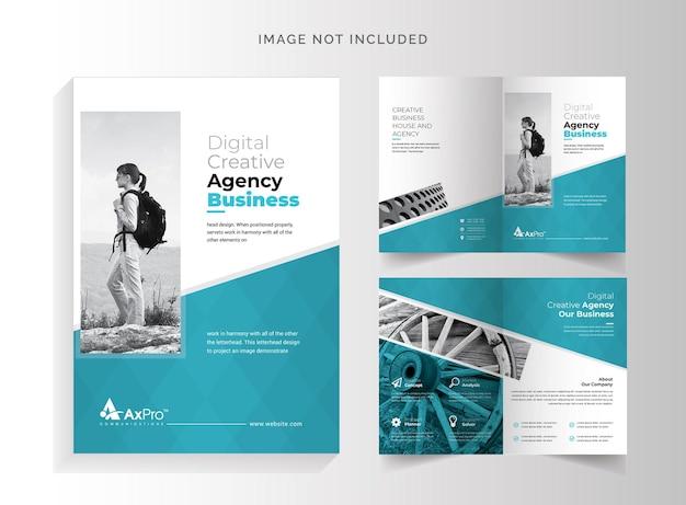 Bifold-broschüre mit pastenakzent