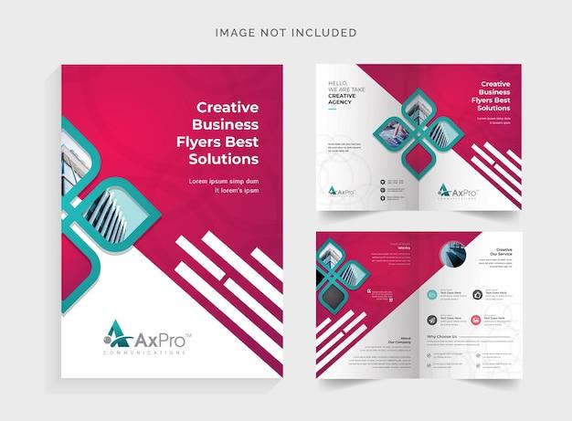 Bifold-broschüre mit rotem akzent