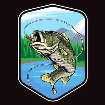 Big bass fischen isoliert auf schwarz