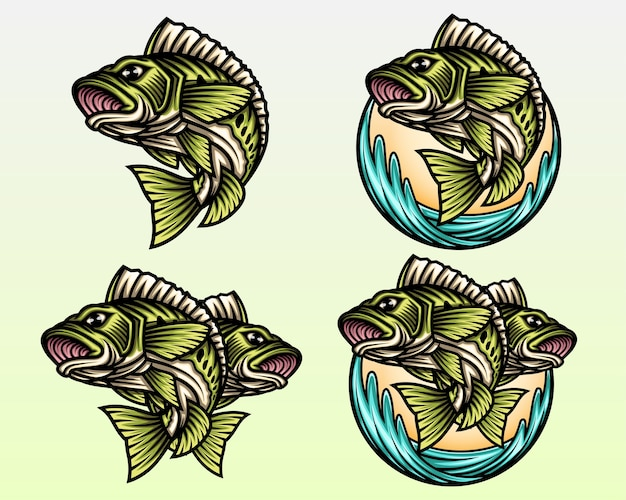 Big bass fish set illustration.