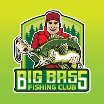 Big bass fishing people club logo
