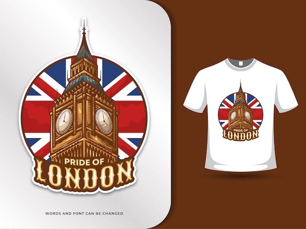 Big ben london wahrzeichen und flagge der vereinigten königreich illustration mit t-shirt design-vorlage