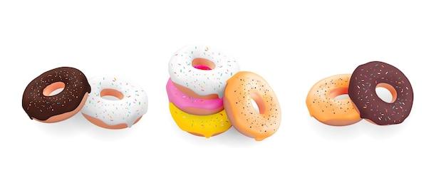 Big collection set von realistischen süßen süßen leckeren desserts 3d