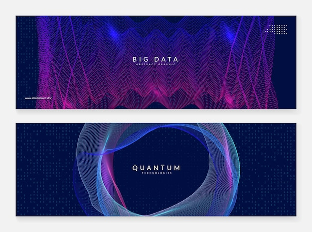 Big data abstract. banner-set für digitale technologie.