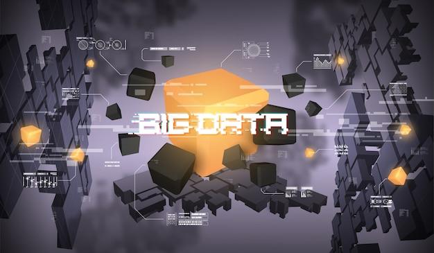 Big data abstract visualisierung. futuristisches ästhetisches design. big data mit hud-elementen.