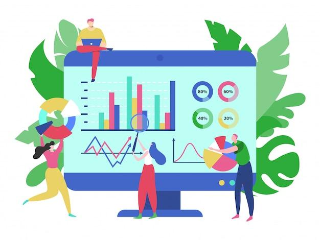 Big-data-analysekonzept, illustration. geschäftsmann-teammannfrau nahe der großen leinwand mit grafiken, grafik, diagramm