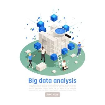 Big-data-analysetools technologie kreisförmige isometrische symbolische zusammensetzung mit speicherverarbeitungsstatistik, die die sicherheit analysiert Premium Vektoren