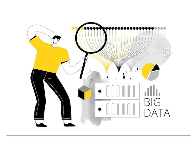 Big data analyst untersucht datenbanken auf servern und erstellt statistiken