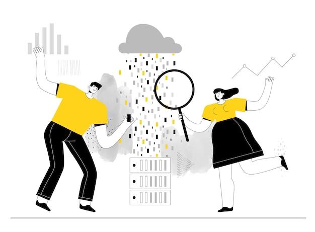 Big-data-analysten für männer und frauen untersuchen informationen zu servern und cloud-speicher