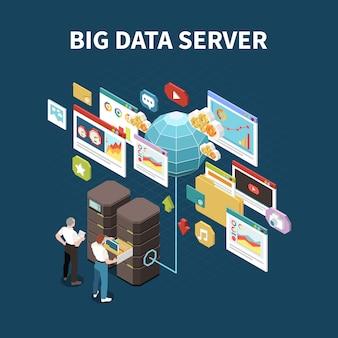 Big data analytics lokalisierte zusammensetzung mit grabungsdatenserver-schlagzeile und elementen der wolkenspeicherillustration