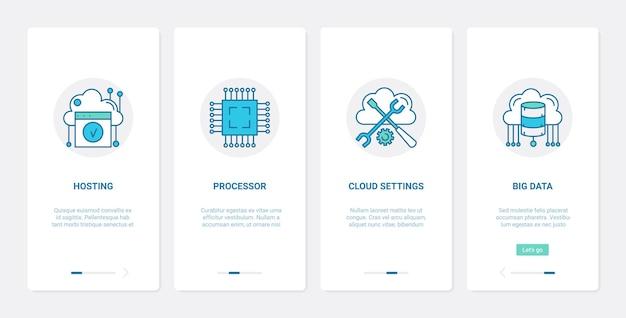 Big data cloud hosting internet-technologie ux ui onboarding mobile app seite bildschirm gesetzt