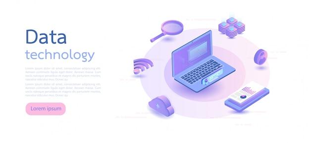 Big data, cloud-informationsspeicher. isometrische vektor-illustration.