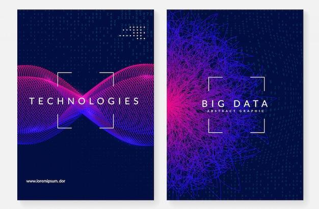 Big data cover design. technologie zur visualisierung