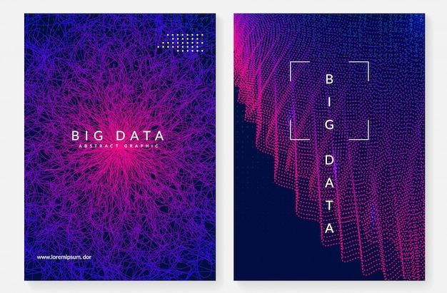 Big data cover design. technologie zur visualisierung
