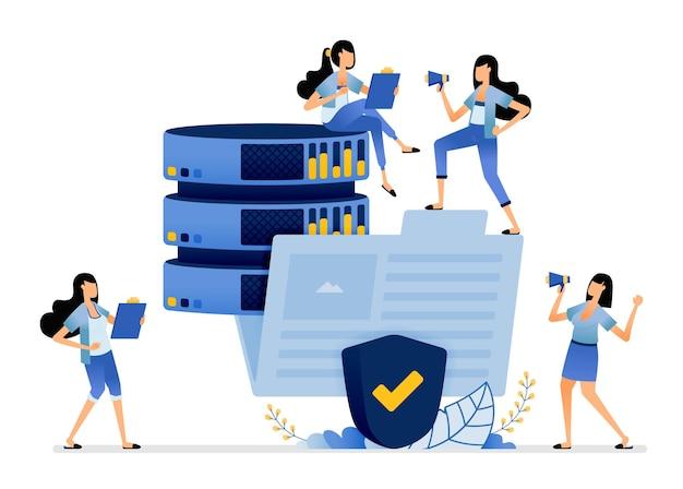Big-data-datenbank, organisiert in ordnern, die durch das sicherheitssystem geschützt sind