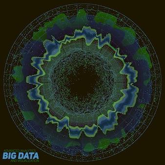 Big data farbenfrohe visualisierung. futuristische infografik. informationsästhetisches design. komplexität visueller daten. grafik für komplexe datenthreads. repräsentation sozialer netzwerke. abstrakter datengraph.