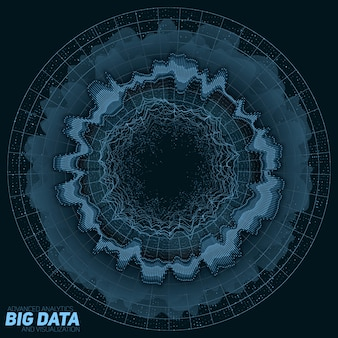 Big data green visualisierung. informationsästhetisches design. komplexität visueller daten. grafik für komplexe datenthreads.