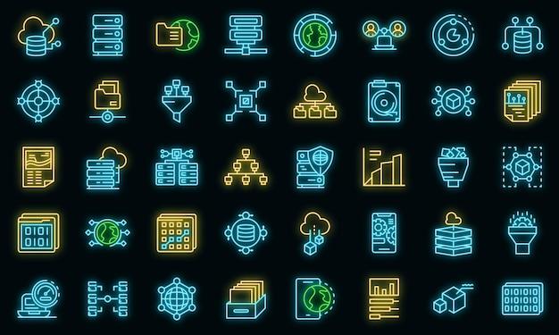 Big data icons set vektor neon