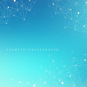 Big-data-komplex. grafische abstrakte hintergrundkommunikation. perspektive hintergrund der tiefe. minimales array mit zusammengesetzten linien und punkten. digitale datenvisualisierung. vektor-abbildung big data.