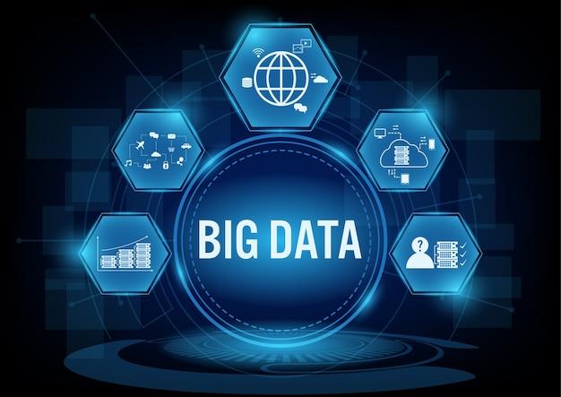Big data-konzept mit liniensymbol.