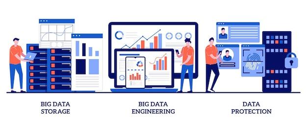 Big data storage, big data engineering, datenschutzkonzept mit kleinen leuten. datenbanksicherheitssatz. festplatteninfrastruktur, sicherheit von geschäftsinformationen.