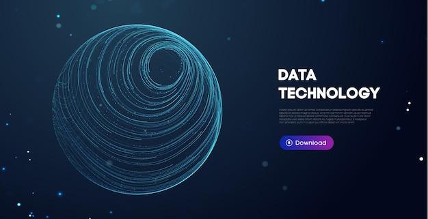 Big data-technologie-vektor-illustration. abstraktes unscharfes datengeschäft farbiges netz.